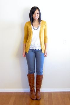mustard sweater with gray cords and cognac boots! @Megan Smith this makes me think of you... I must find a mustard sweater!