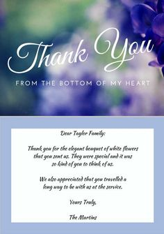 sample thank you note for funeral flowers