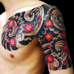 An oriental tattoo half-sleeve of the Japanese cloud for guys. Style: Oriental. Tags: Brother