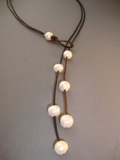 Pearls and Leather Lariat