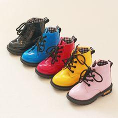 Venta caliente de Los Niños Zapatos de Cuero de LA PU Impermeable Martin Botas Niños Botas de Nieve Niñas Zapatillas de deporte de Marca Niños Botas De Goma de Moda