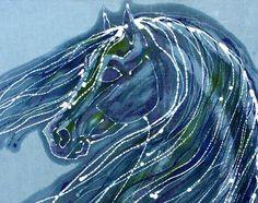 Horse with Windblown Mane  8 x 10  fabric swatch by amityfarmbatik