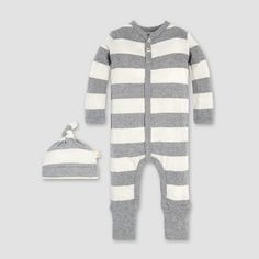 1c2260cfe93 Burt s Bees Baby® Organic Cotton Rugby Stripe Convertible Cuff Coverall    Hat Set - Heather Grey 24M