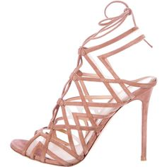 Pre-owned Gianvito Rossi Suede Multistrap Sandals ($445) ❤ liked on Polyvore featuring shoes, sandals, pink, gianvito rossi sandals, pre owned shoes, suede lace up sandals, gianvito rossi and pink suede sandals