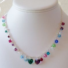 Grandmother Birthstone Necklace  Custom Made Sterling Silver and Swarovski by mompotter,