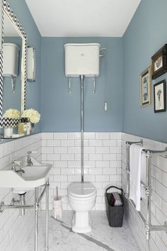 lefroy brooks Powder Room Traditional with blue bathroom blue cloakroom Bad Inspiration, Bathroom Inspiration, Bathroom Ideas, Cloakroom Ideas, Bathroom Remodeling, Remodeling Ideas, Bathroom Shop, Bathroom Taps, Gold Bathroom