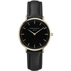 The Tribeca Black and Gold Watch by Rosefield (135 NZD) ❤ liked on Polyvore featuring jewelry, watches, rosefield watches, metal jewelry, metal watches, black gold watches and black gold jewellery