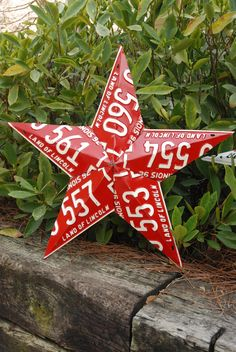 5 Point Recycled License Plate Star Decoration. $79.95, via Etsy.