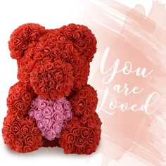 engagement and any event b valentines day mothers day 10 inch beautiful present for Christmas anniversary comes in window display gift box made from artificial forever roses with bow Rose bear with heart and LED fairy lights 25 cm Xmas birthday