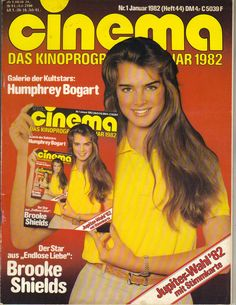 GREAT COVER! Brooke Shields on the cover of this January 1982 GERMAN issue of Cinema magazine. Oversize magazines such as Cigar Aficiando, Hello, Interview, Life, Rolling Stone, and W may be more.   eBay!