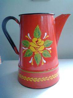 Narrowboat red jug Canal ware Barge ware vintage Hand painted enamel folk art Romany Gypsy Traditional rose
