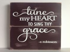 Rustic wood sign Tune my heart to sing thy by BrightLoveDesigns, $32.00