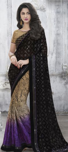 Beige and Brown, Black and Grey color family Embroidered Sarees, Party Wear Sarees