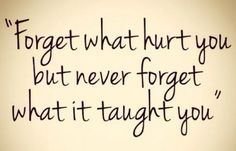 Forget what hurt you but never forget what it taught you. thedailyquotes.com