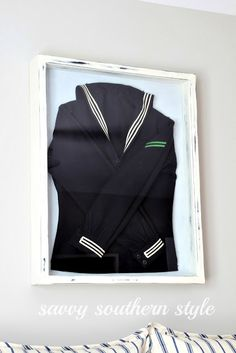 uniform in frame as wall art, by Savvy Southern Style featured at I Love That Junk