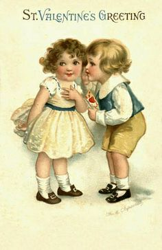 Free freebie printable vintage valentine postcard of little girl and boy, by Ellen Clapsaddle Valentine Images, My Funny Valentine, Vintage Valentine Cards, Vintage Greeting Cards, Vintage Holiday, Valentine Day Cards, Vintage Postcards, Saint Valentine, Valentines Day Holiday