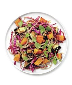 Make-Ahead Roasted Squash and Eggplant With Crispy Cabbage and Soba Noodles from realsimple.com #myplate #vegetables