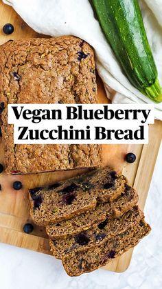 Blueberry Zucchini Bread, Vegan Blueberry, Vegan Sweets, Vegan Food, Drink Recipes, Whole Food Recipes, Dairy Free Breakfasts, Sweet Bakery, Health Dinner