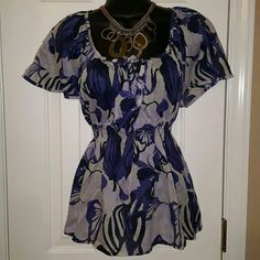 Purple & Black Blouse Rouged waist and front top ties. Worn maybe once or twice. 100% cotton H&M Tops Blouses