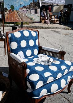 Blue and white polka dot chair!