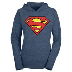 The DC Superman Vintage Logo Hoodiecomes in a great heather pullover fleece made from a 50/50 Cotton / Polyester blend.  This fleece hoodie is designed and fitted for women and is super comfortable blue  with a bright, stylish Superman logo on the front.