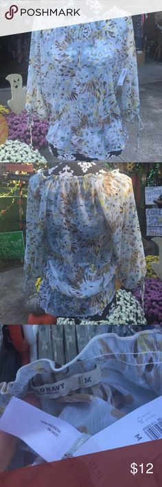 Sheer top from Old Navy NWT-Sheer top with elastic waist and tie at neck(could be worn off shoulder) 3/4 sleeve length! Old Navy Tops Blouses