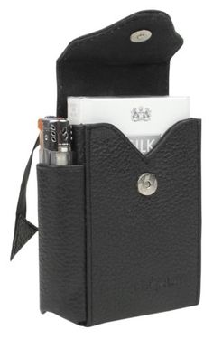 Starlite Real Leather Black Cigarette Case & Lighter Holder-FREE SHIPPING @ £15.24