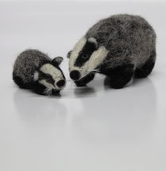Badger and badger cub needle felted