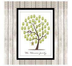 Birthday Thumbprint Tree PRINTABLE PDF - Printable Fingerprint Guest Book  - Adoption Party