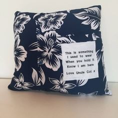 Another custom memory order sent out recently embroidered with a message of choice making memories last Custom Embroidery, Making Memories, Claire, Handmade Gifts, Cushions, Messages, Throw Pillows, How To Make, Pocket