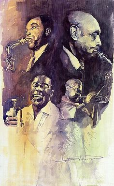 Jazz Legends Parker Gillespie Armstrong    Watercolour on paper by Yuriy Shevchuk