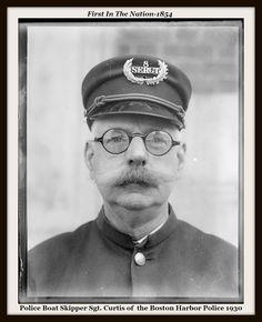 Police Boat Skipper Sgt. Curtis of  the Boston Harbor Police 1930   #FITN1854 #Boston #Police