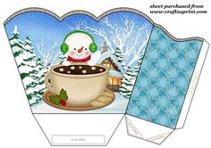 Snowman gift basket 2 on Craftsuprint designed by Sharon Poore - Snowman gift basket,you will need to print 2 sheets to make gift basket - Now available for download!