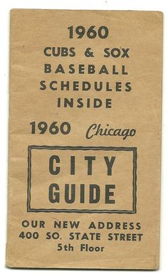 1960 CHICAGO City Street Guide w/ CUBS & WHITE SOX schedule