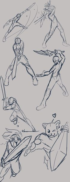 Dynamic sword poses by Master-sweez