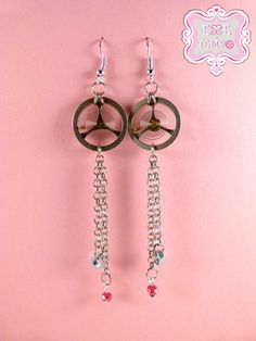 Steampunk earrings watch chain wheels nuts and Red by EsseeTempo