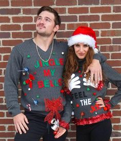 Ugly Christmas Sweater product is great for those Ugly Christmas Sweater parties! This is a Couples Matching Ugly Christmas Sweaters featuring His Jingle my Bells and Hers Feel the Joy. You can get them to match or choose different colors. Choose the colors in the options. You save $5