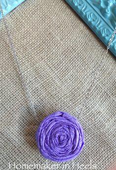 Spring Purple Rosette Necklace