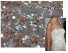 Hand-Beaded Blossoms in the Water on Tulle (Temporarily SOLD OUT). Rex Fabrics - http://www.RexFabrics.com