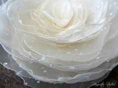 Wedding Hair Flower  Sparkly Ivory Organza by RainwaterStudios, $28.00