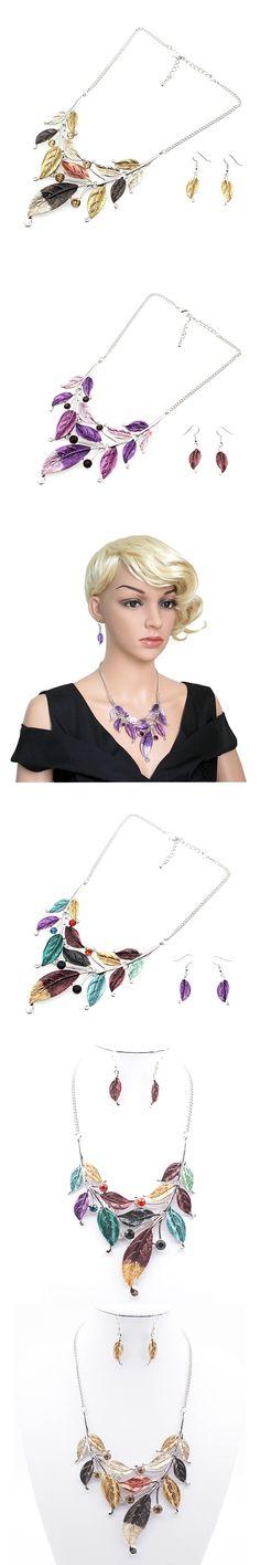 New Hot Enamel Jewelry Set Rhinestone Choker Necklace Leaf Earrings Crystal Jewelry Sets Beautiful Color For Women Free Shipping