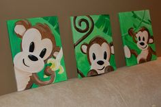 cute monkey paintings for the nursery! I am going with a larger  canvas and yellow background!