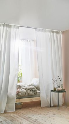 Curtains in the bedroom: how to beautify your retreat - IKEA Germany Four Poster, Ikea, Curtains, Bed Frame, Bedroom, Bed Curtains, Farmhouse Bedding, Modern Bed, Curtains Childrens Room