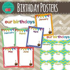 Birthday Posters for your Chevron Classroom Decor