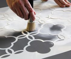 Stockist Royal Design Studio of Chula Vista, CA not only stocks the full range of Chalk Paint® decorative paint by Annie Sloan, they also create some of the mos… Painted Floor Cloths, Painted Rug, Stenciled Floor, Painted Floors, Painted Furniture, Floor Stencil, Stencil Diy, Stencil Painting, Stenciling