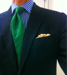 More brilliant color. Love the emerald green silk shantung tie.