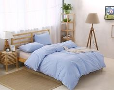 A natural, fade-resistant, washed-cotton duvet cover set that comes in six different colors.