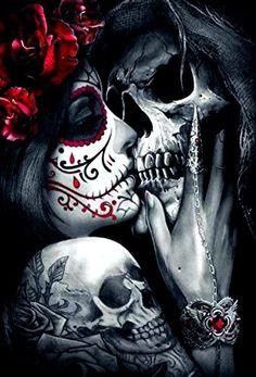 skull art dark & skull art ` skull artwork ` skull art drawing ` skull art dark ` skull art pretty ` skull art tattoo ` skull art wallpaper ` skull art black and white Skull Rose Tattoos, Skull Girl Tattoo, Girl Skull, Sugar Skull Girl, La Muerte Tattoo, Catrina Tattoo, Tattoo Sleeve Designs, Sleeve Tattoos, Rauch Tapete