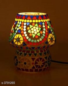 LED Lights & Lamps Multicolor Hand Decorative With Colorful Beads & Chips Glass Table Lamp  Product Type : Table Lamp  Material : Glass Cord Length:-60 inch Shade Length:-14 cm Description : It Has Set Of 1 Glass Table Lamp Country of Origin: India Sizes Available: Free Size   Catalog Rating: ★4.1 (1635)  Catalog Name: Multicolor Hand Decorative With Colorful Beads & Chips Glass Table Lamp Vol 2 CatalogID_531387 C103-SC1416 Code: 823-3791265-477