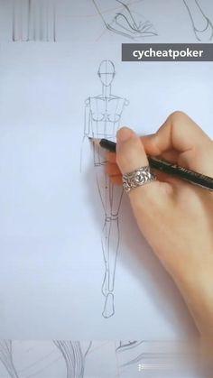 Dress Design Drawing, Dress Design Sketches, Fashion Design Sketchbook, Fashion Design Portfolio, Fashion Design Drawings, Art Drawings Sketches Simple, Fashion Sketches, Fashion Illustration Template, Fashion Illustration Collage
